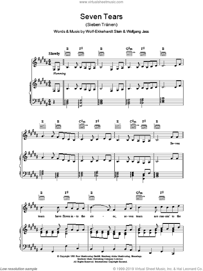 Seven Tears sheet music for voice, piano or guitar by Wolff-Ekkehardt Stein and Wolfgang Jass. Score Image Preview.