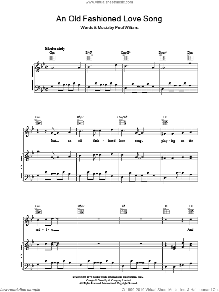 An Old Fashioned Love Song sheet music for voice, piano or guitar by Three Dog Night and Paul Williams, intermediate skill level