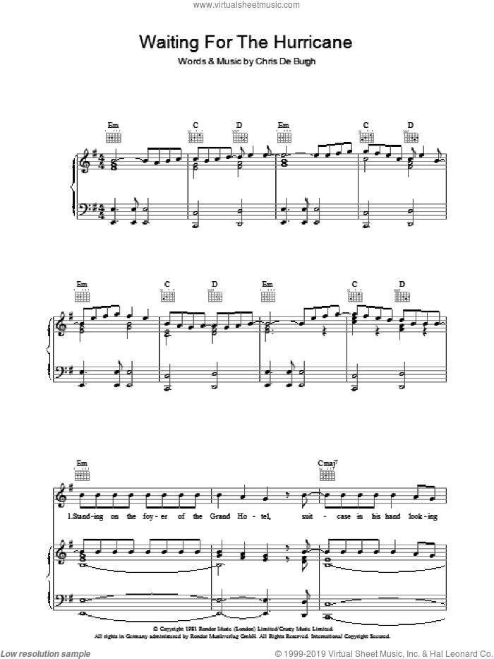 Waiting For The Hurricane sheet music for voice, piano or guitar by Chris de Burgh, intermediate voice, piano or guitar. Score Image Preview.