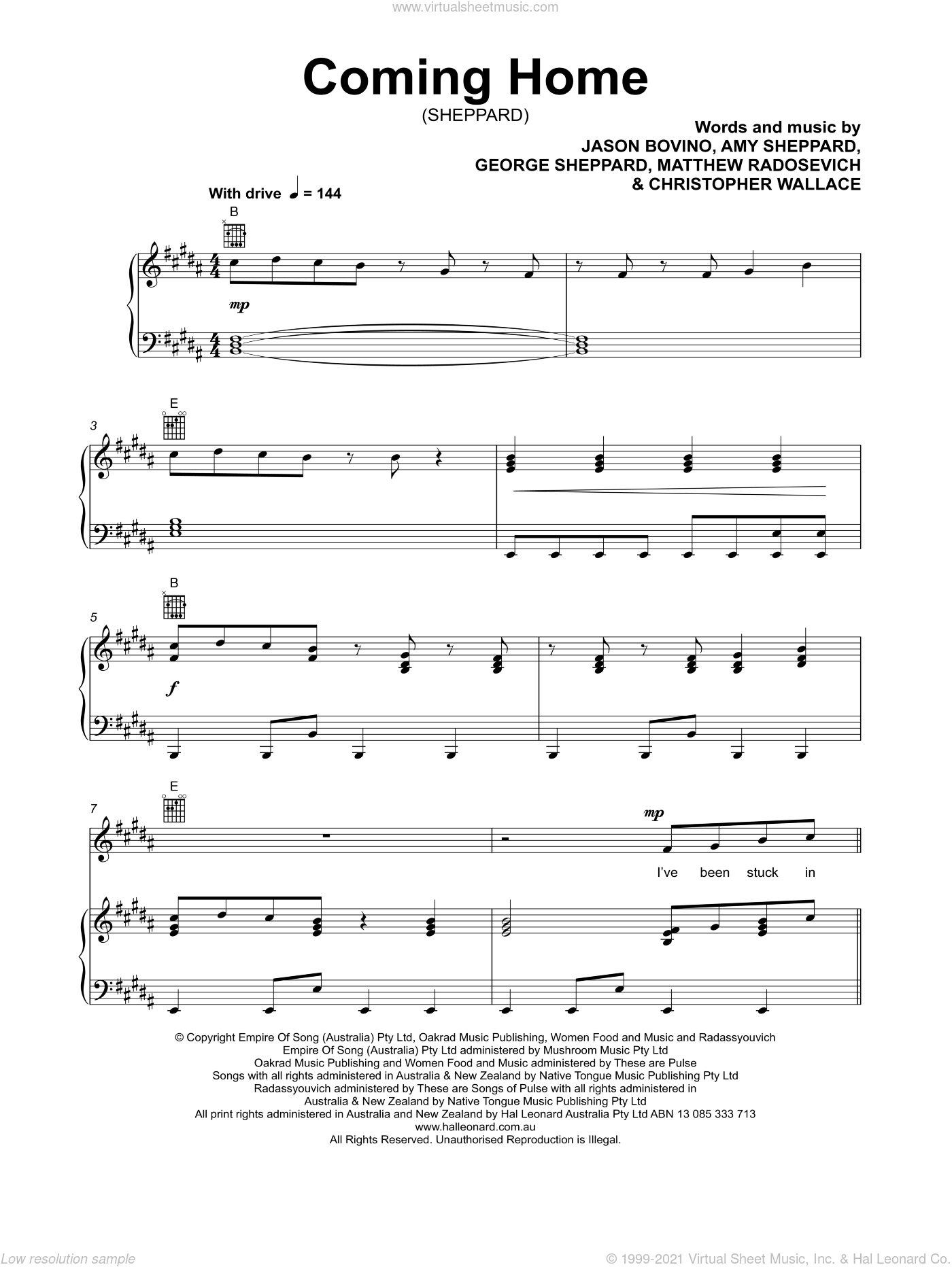 Coming Home sheet music for voice, piano or guitar by Sheppard, Amy Sheppard, Christopher Wallace, George Sheppard, Jason Bovino and Matthew Radosevich, intermediate skill level
