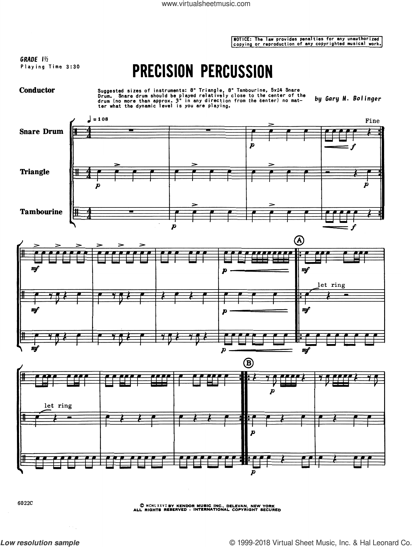 Precision Percussion (COMPLETE) sheet music for percussions by Gary M. Bolinger, intermediate skill level
