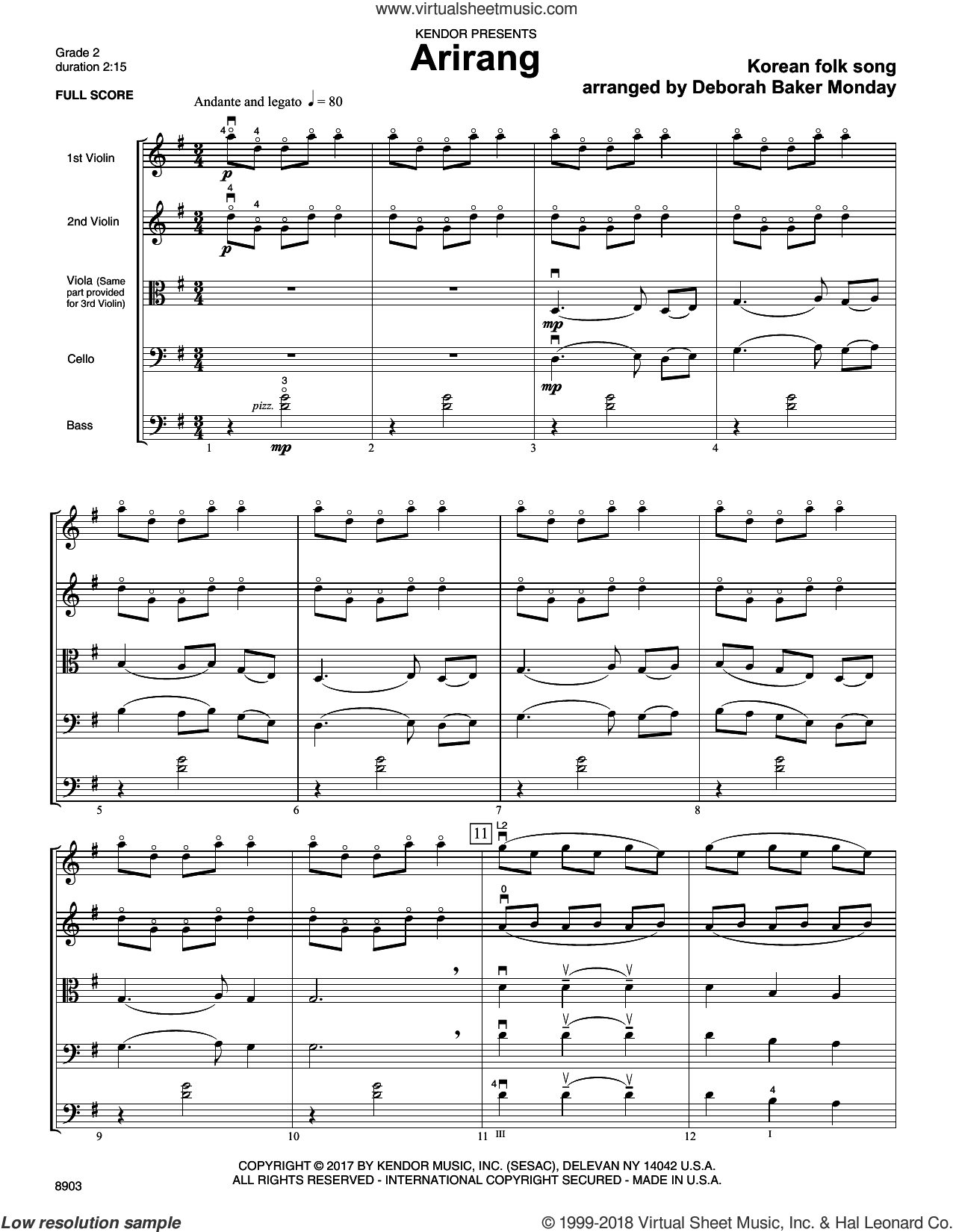Arirang (COMPLETE) sheet music for orchestra by Deborah Baker Monday and Korean folk song, intermediate skill level