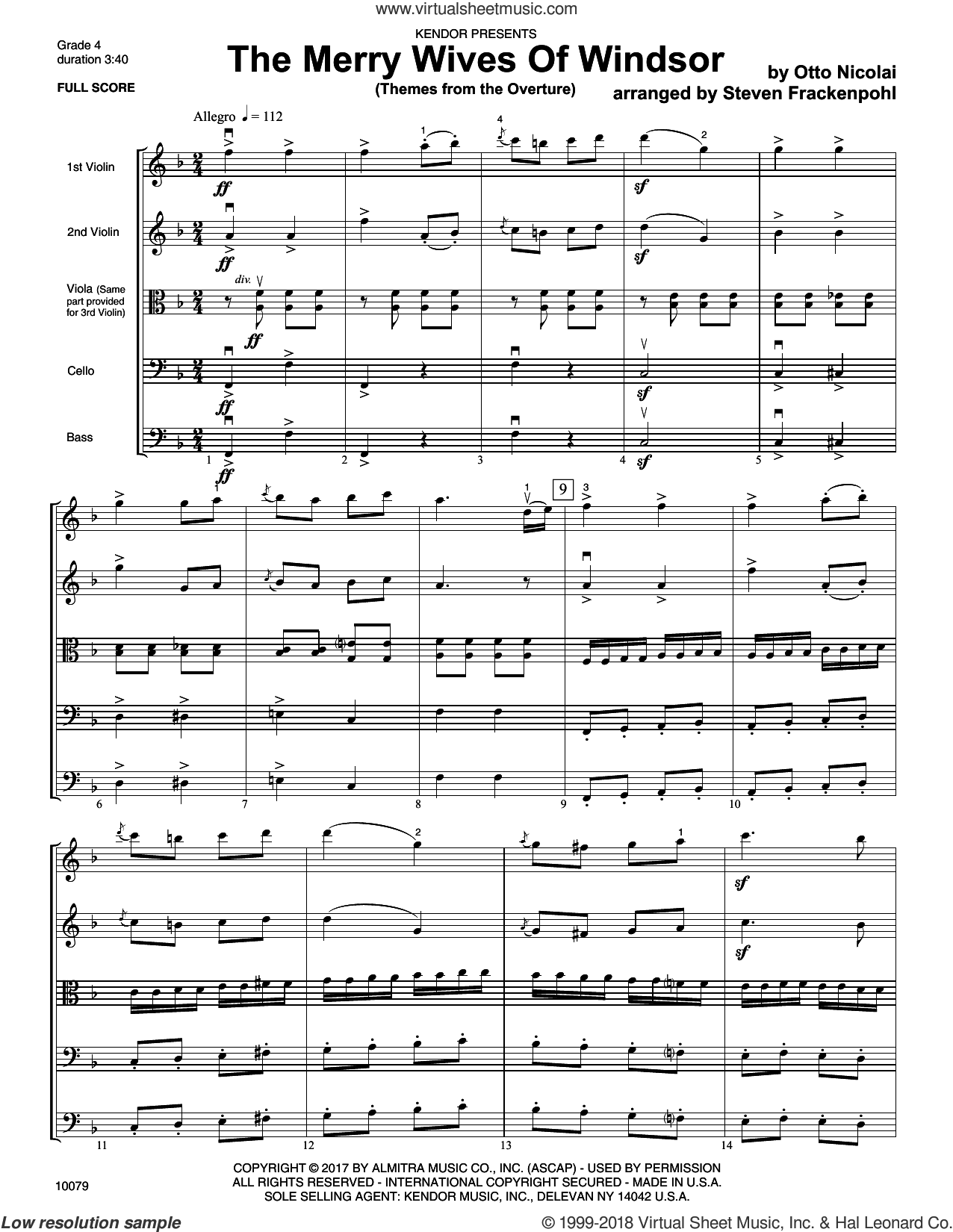 The Merry Wives Of Windsor (Themes From The Overture) (COMPLETE) sheet music for orchestra by Steve Frackenpohl and Otto Nicolai, intermediate skill level