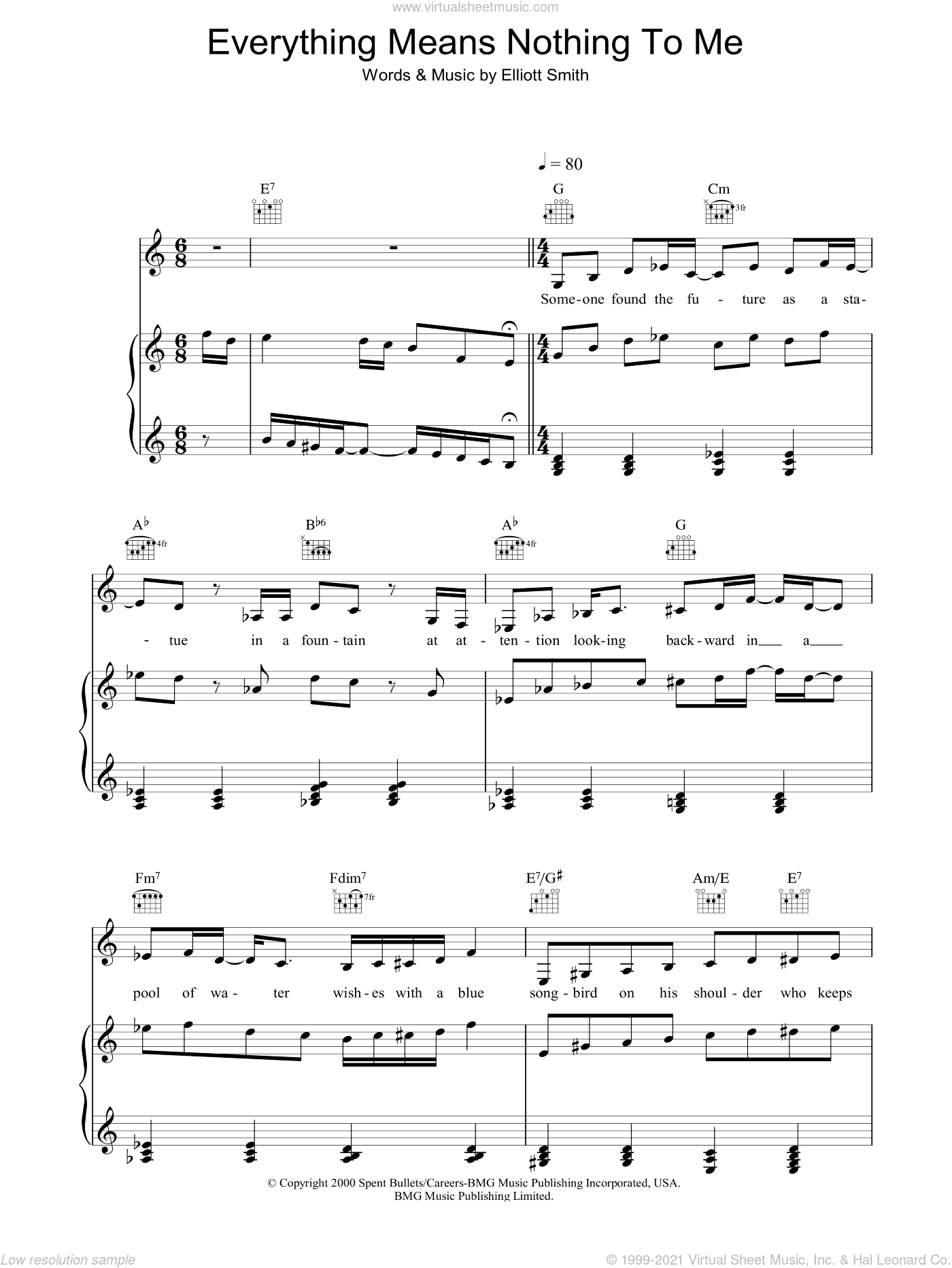 Everything Means Nothing To Me sheet music for voice, piano or guitar by Elliott Smith, intermediate voice, piano or guitar. Score Image Preview.
