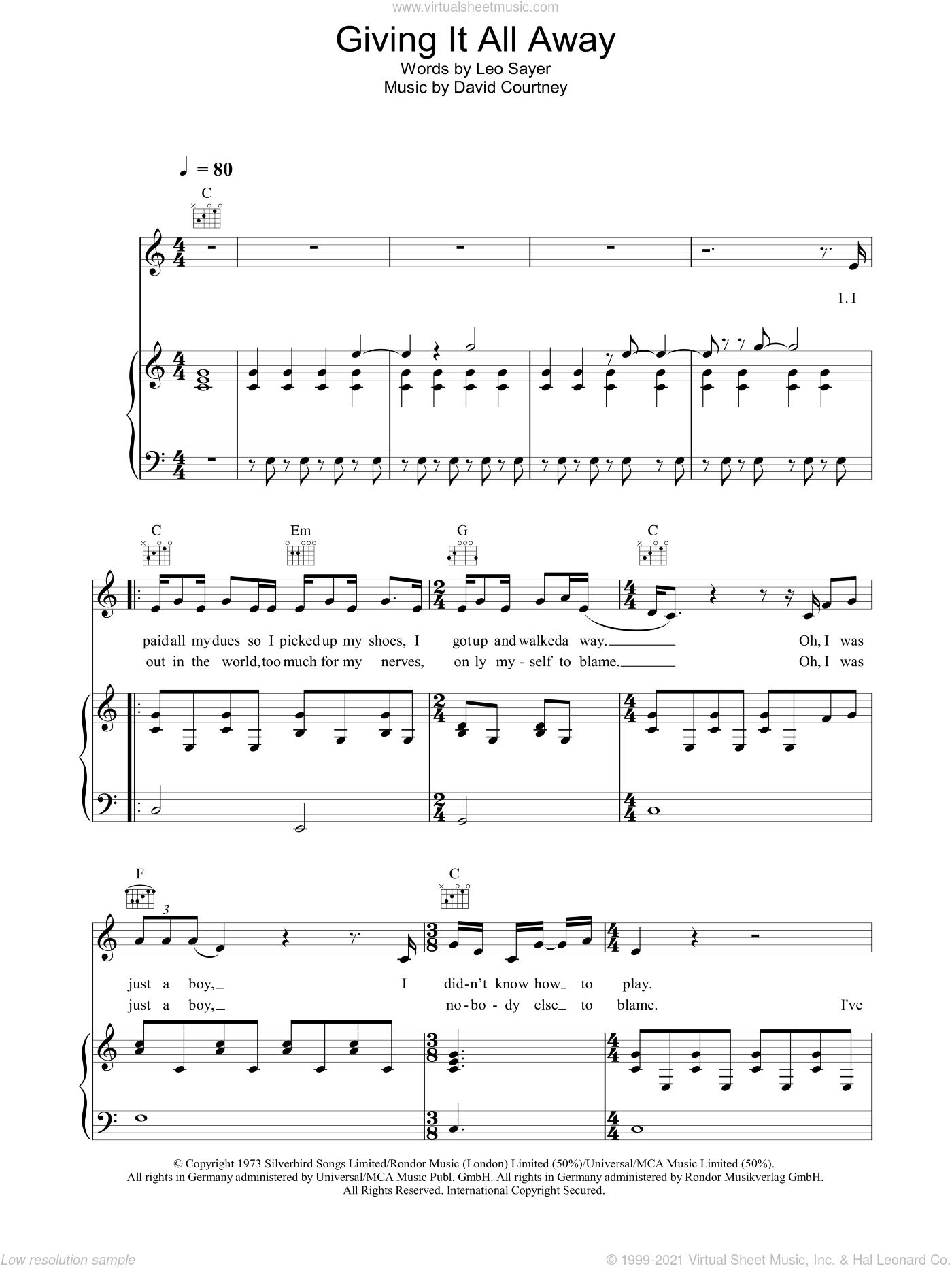 Giving It All Away sheet music for voice, piano or guitar by David Courtney