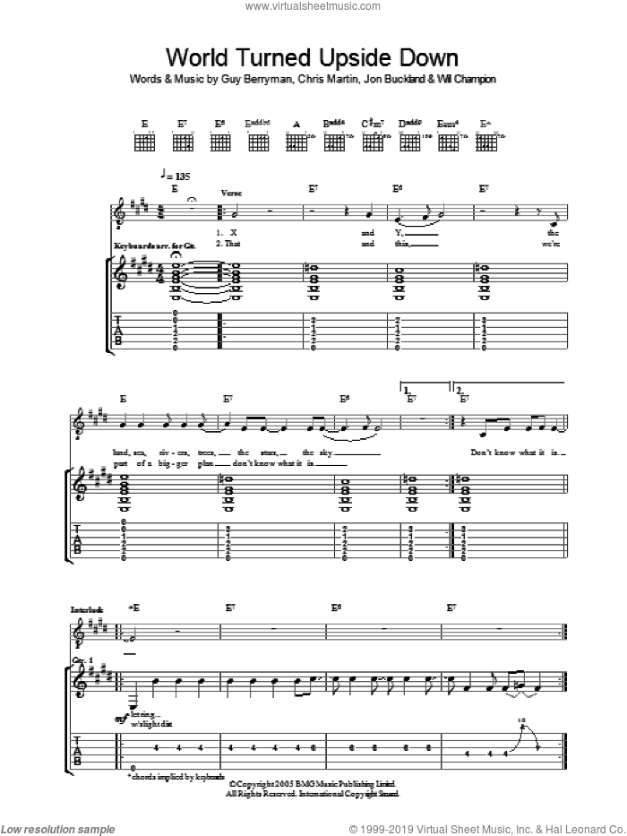 The World Turned Upside Down sheet music for guitar (tablature) by Chris Martin, Coldplay, Guy Berryman, Jon Buckland and Will Champion. Score Image Preview.
