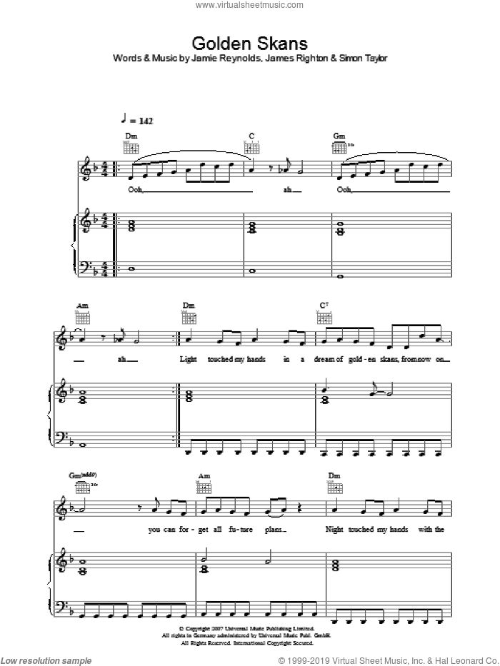 Golden Skans sheet music for voice, piano or guitar by Klaxons, James Righton, Jamie Reynolds and Simon Taylor, intermediate. Score Image Preview.