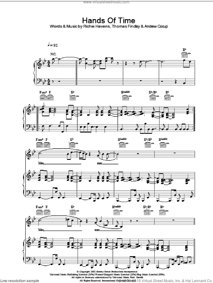 Hands Of Time sheet music for voice, piano or guitar by Andrew Cocup. Score Image Preview.