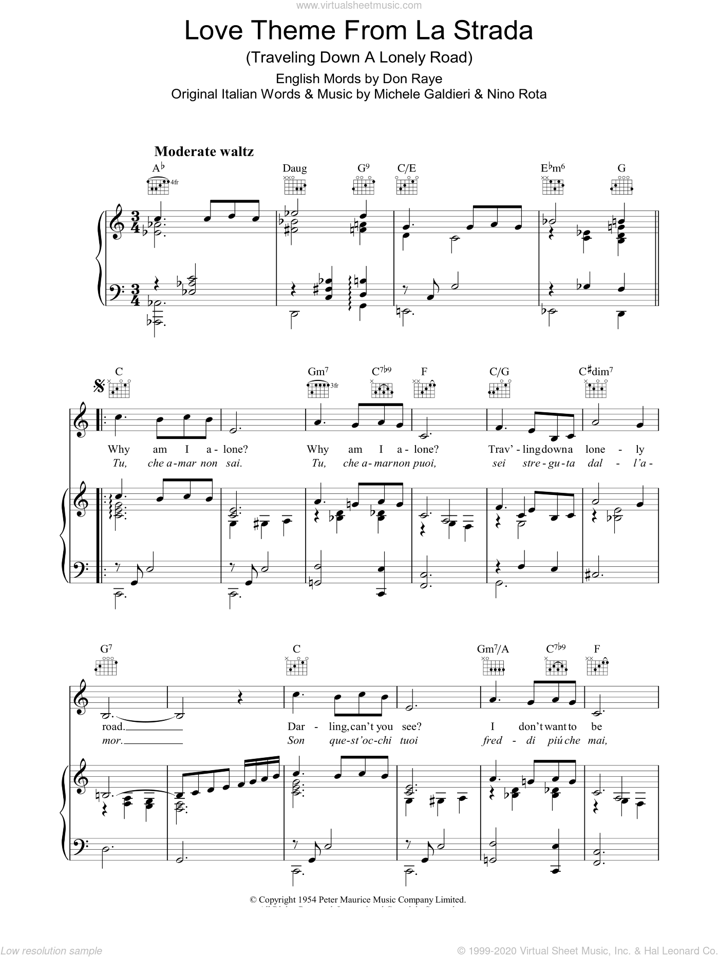Love Theme (from La Strada) sheet music for voice, piano or guitar by Nino Rota, Don Raye and Michele Galdieri, intermediate skill level