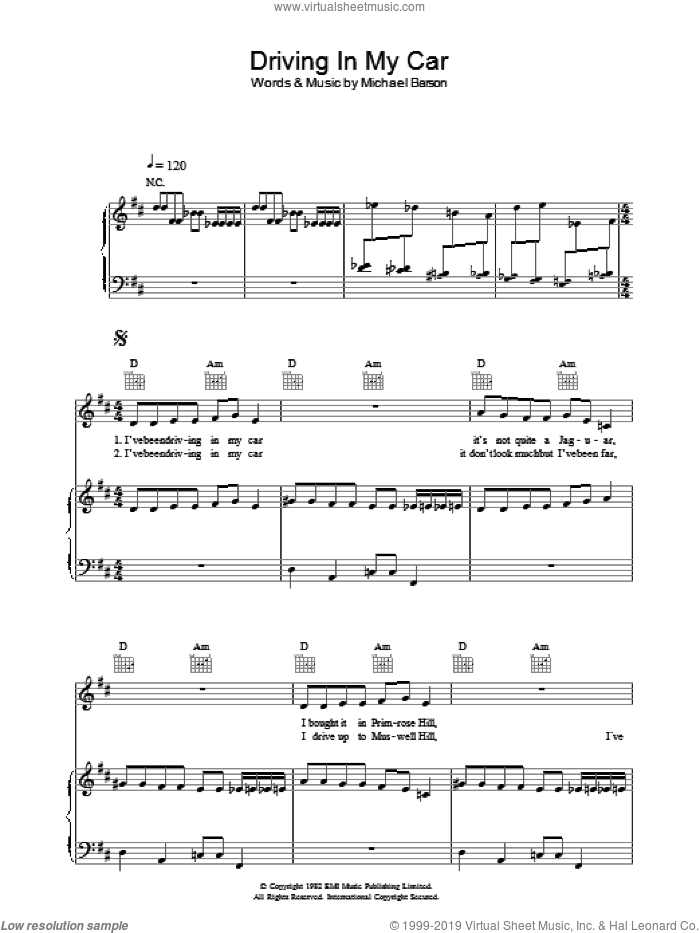 Driving In My Car sheet music for voice, piano or guitar by Michael Barson and Madness. Score Image Preview.
