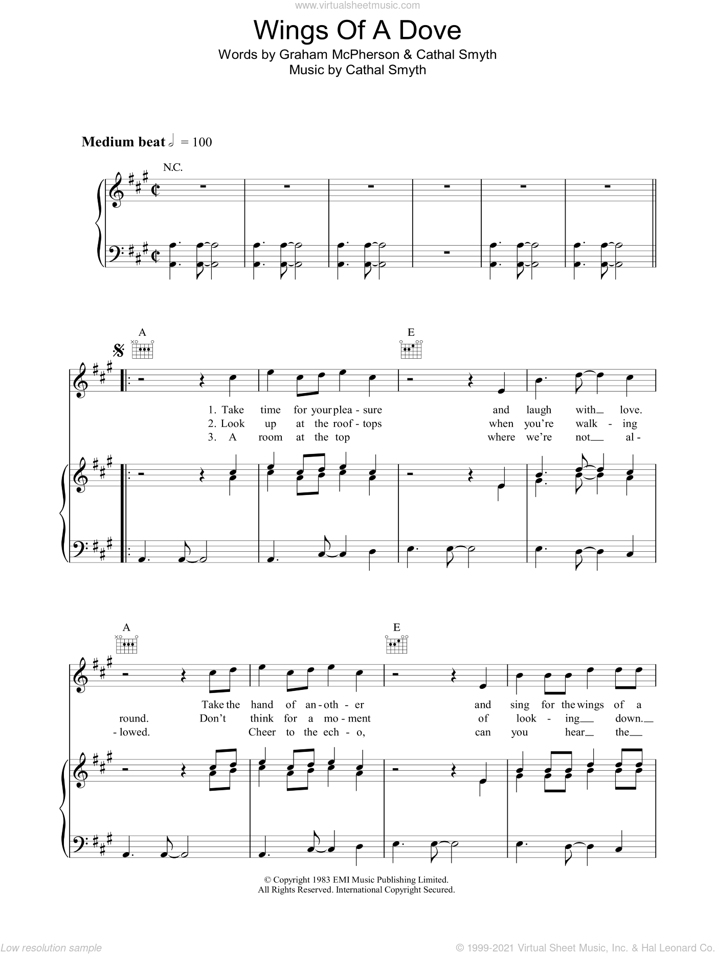 Wings Of A Dove sheet music for voice, piano or guitar by Cathal Smyth