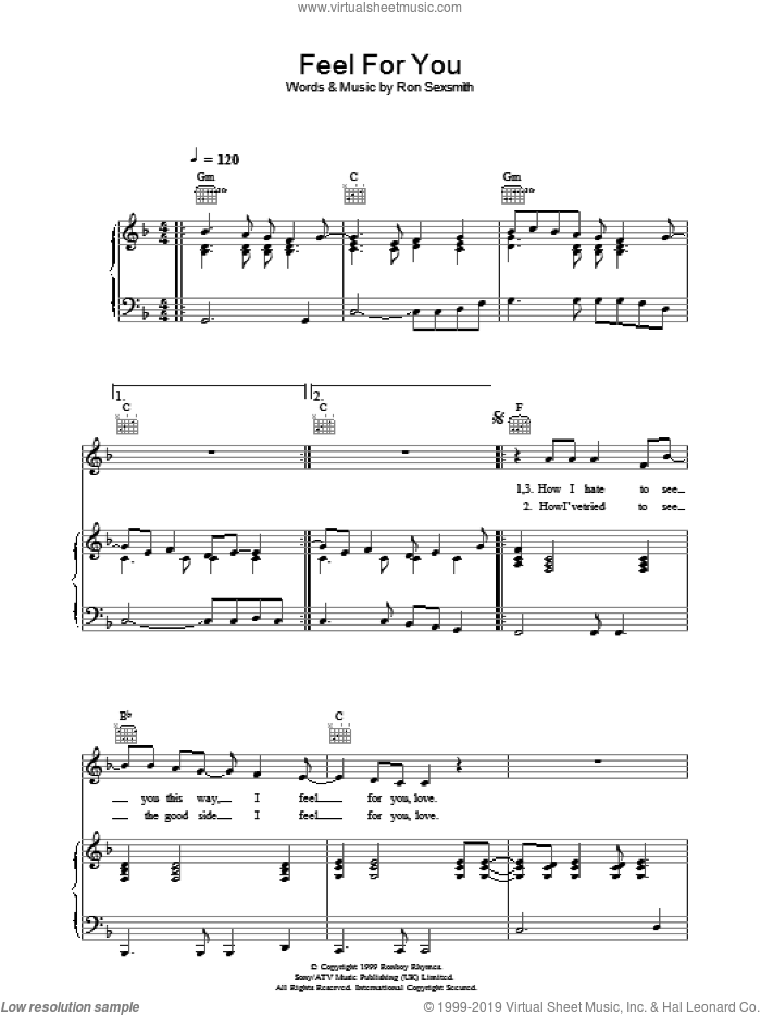 Feel For You sheet music for voice, piano or guitar by Ron Sexsmith