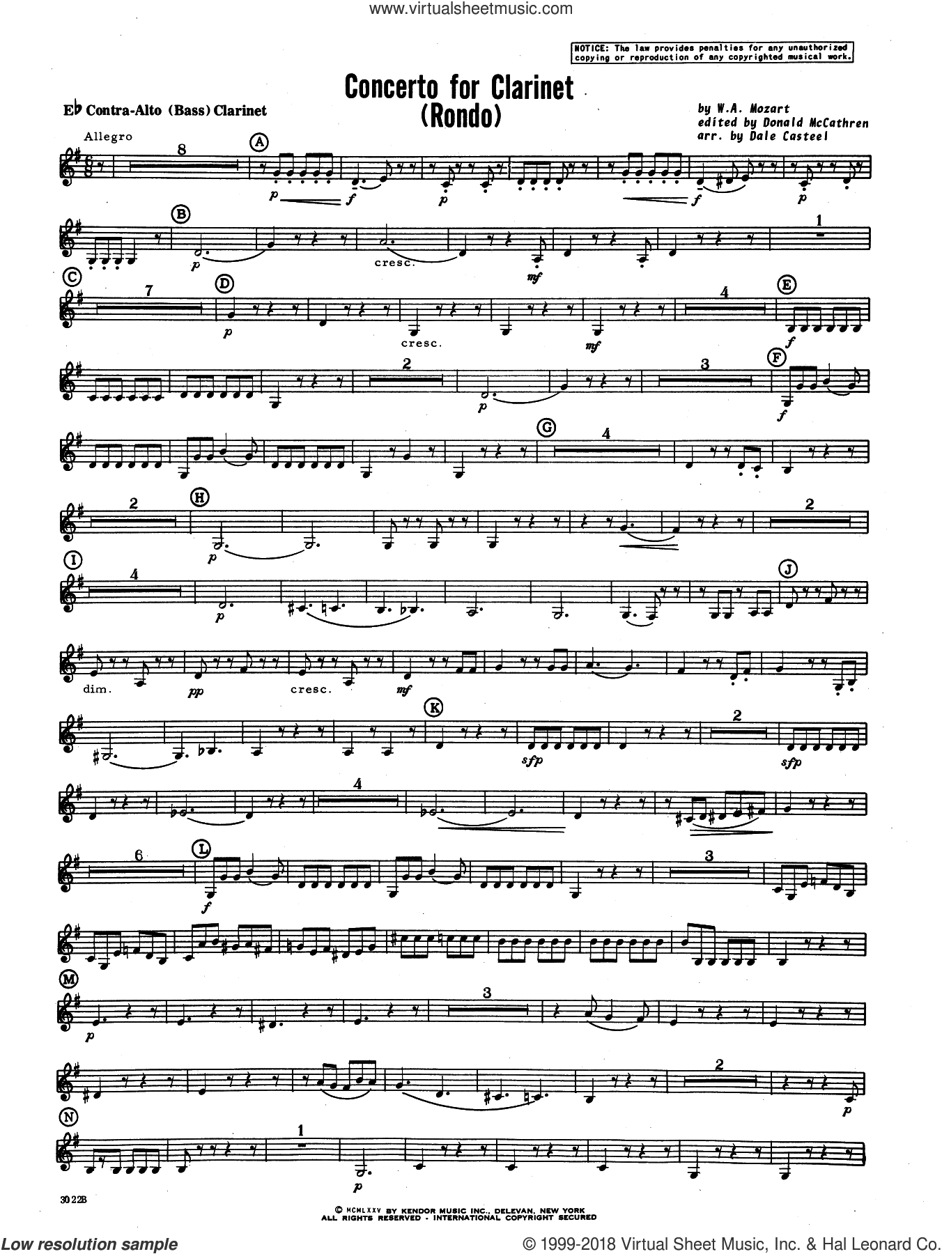 Concerto For Clarinet, rondo (3rd movement) sheet music for concert band (k.622) by Wolfgang Amadeus Mozart and Donald McCathren and Dale Casteel, classical score, intermediate skill level
