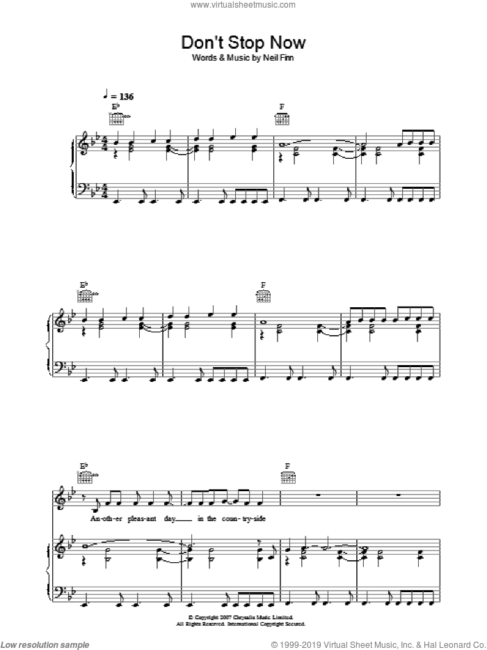 Don't Stop Now sheet music for voice, piano or guitar by Neil Finn