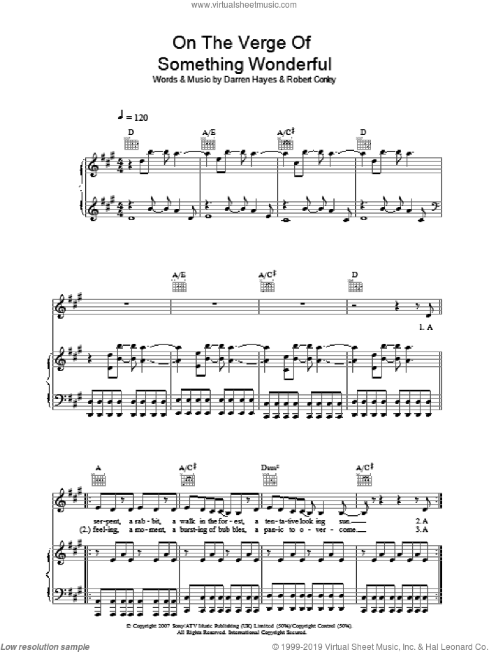On The Verge Of Something Wonderful sheet music for voice, piano or guitar by Robert Conley and Darren Hayes. Score Image Preview.