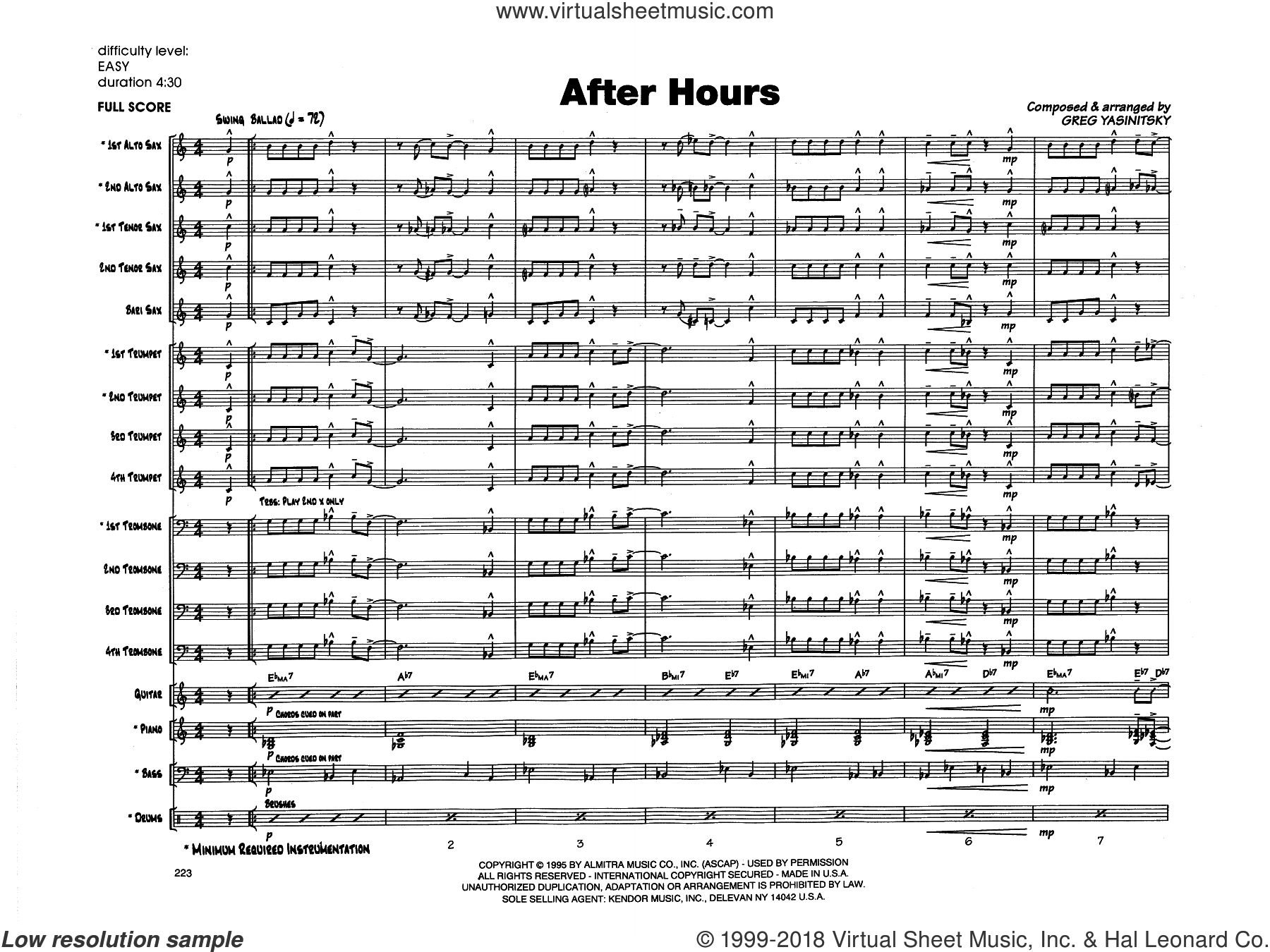 After Hours (COMPLETE) sheet music for jazz band by Gregory Yasinitsky, intermediate skill level