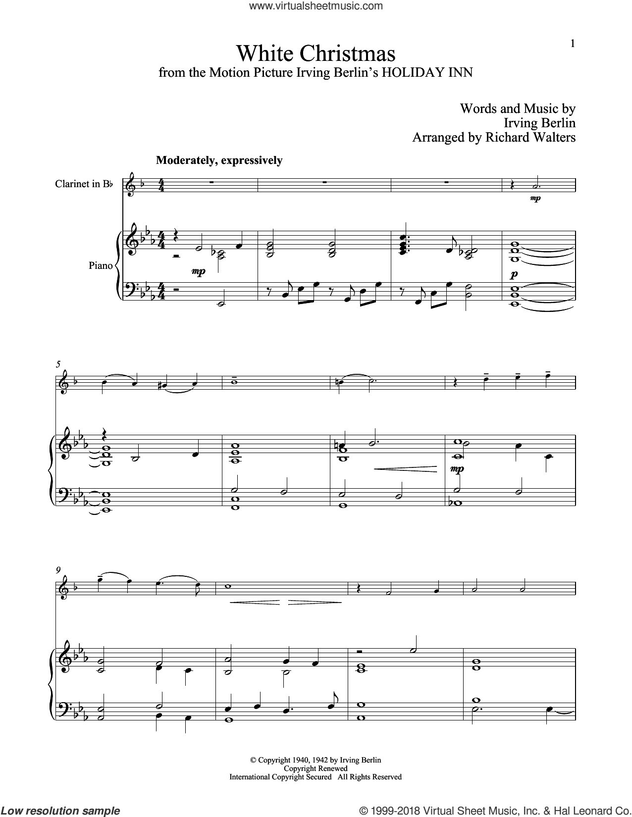 White Christmas sheet music for clarinet and piano by Irving Berlin, classical score, intermediate skill level