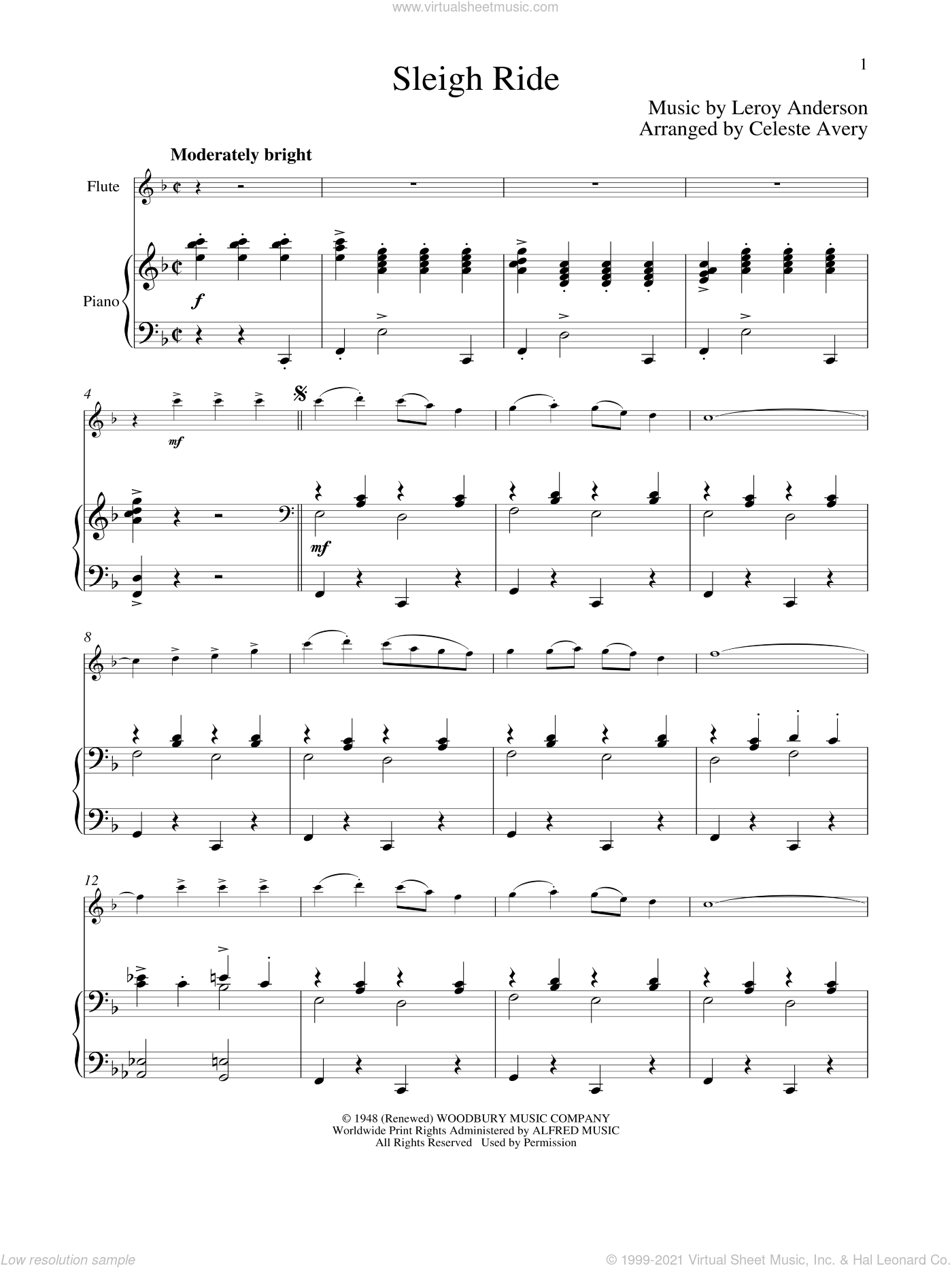 Sleigh Ride sheet music for flute and piano by Leroy Anderson and Mitchell Parish, classical score, intermediate skill level