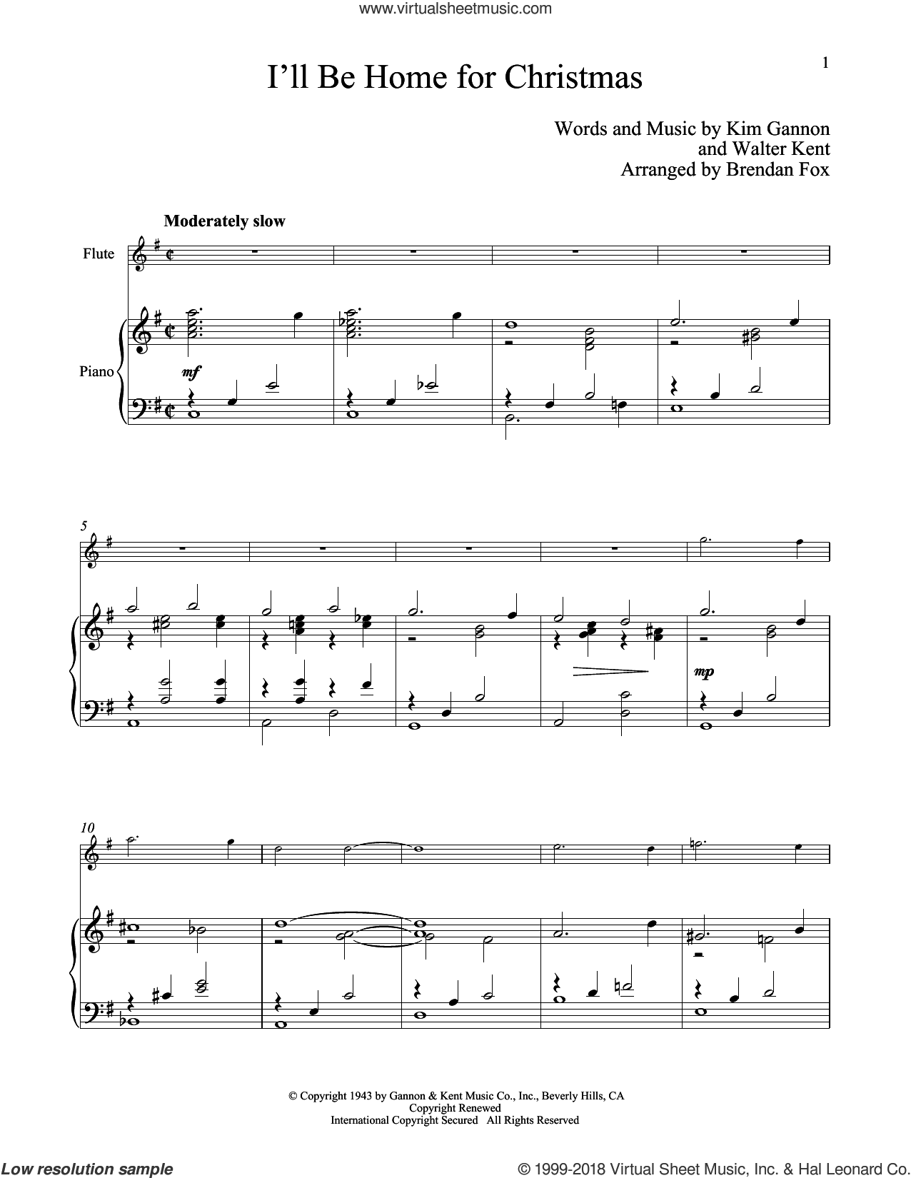 I'll Be Home For Christmas sheet music for flute and piano by Kim Gannon and Walter Kent, classical score, intermediate skill level