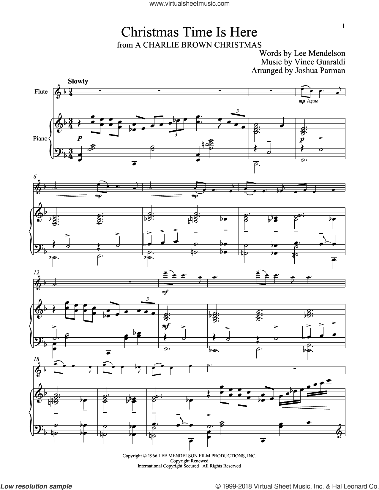 Christmas Time Is Here sheet music for flute and piano by Vince Guaraldi and Lee Mendelson, intermediate skill level