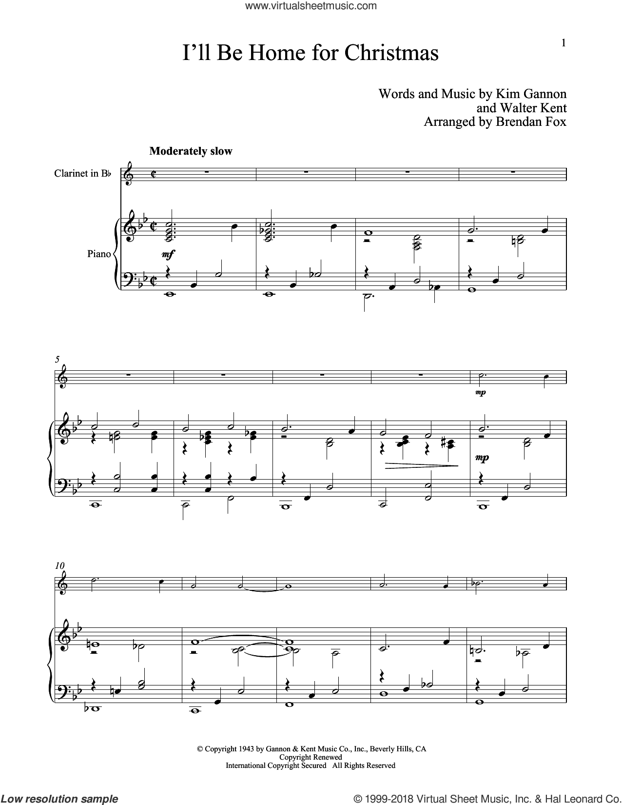 I'll Be Home For Christmas sheet music for clarinet and piano by Kim Gannon and Walter Kent, classical score, intermediate skill level