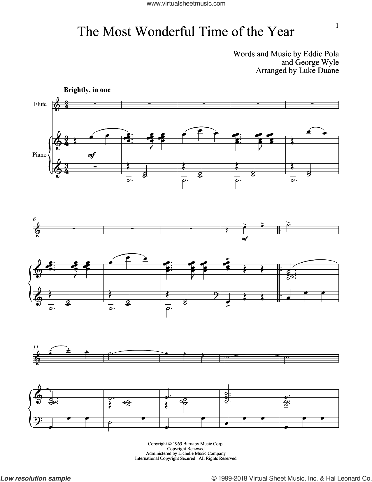 The Most Wonderful Time Of The Year sheet music for flute and piano by George Wyle and Eddie Pola, classical score, intermediate skill level