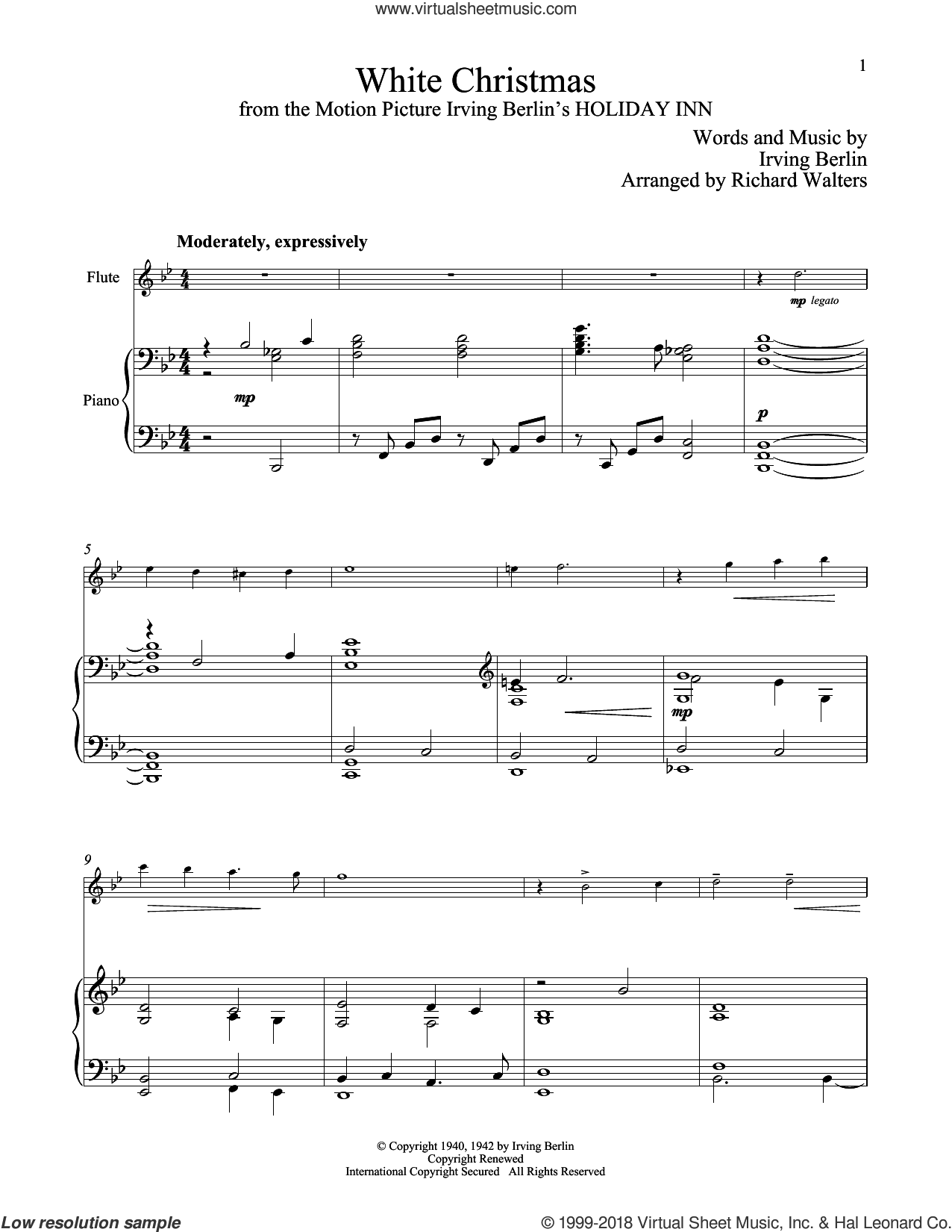 White Christmas sheet music for flute and piano by Irving Berlin, classical score, intermediate skill level