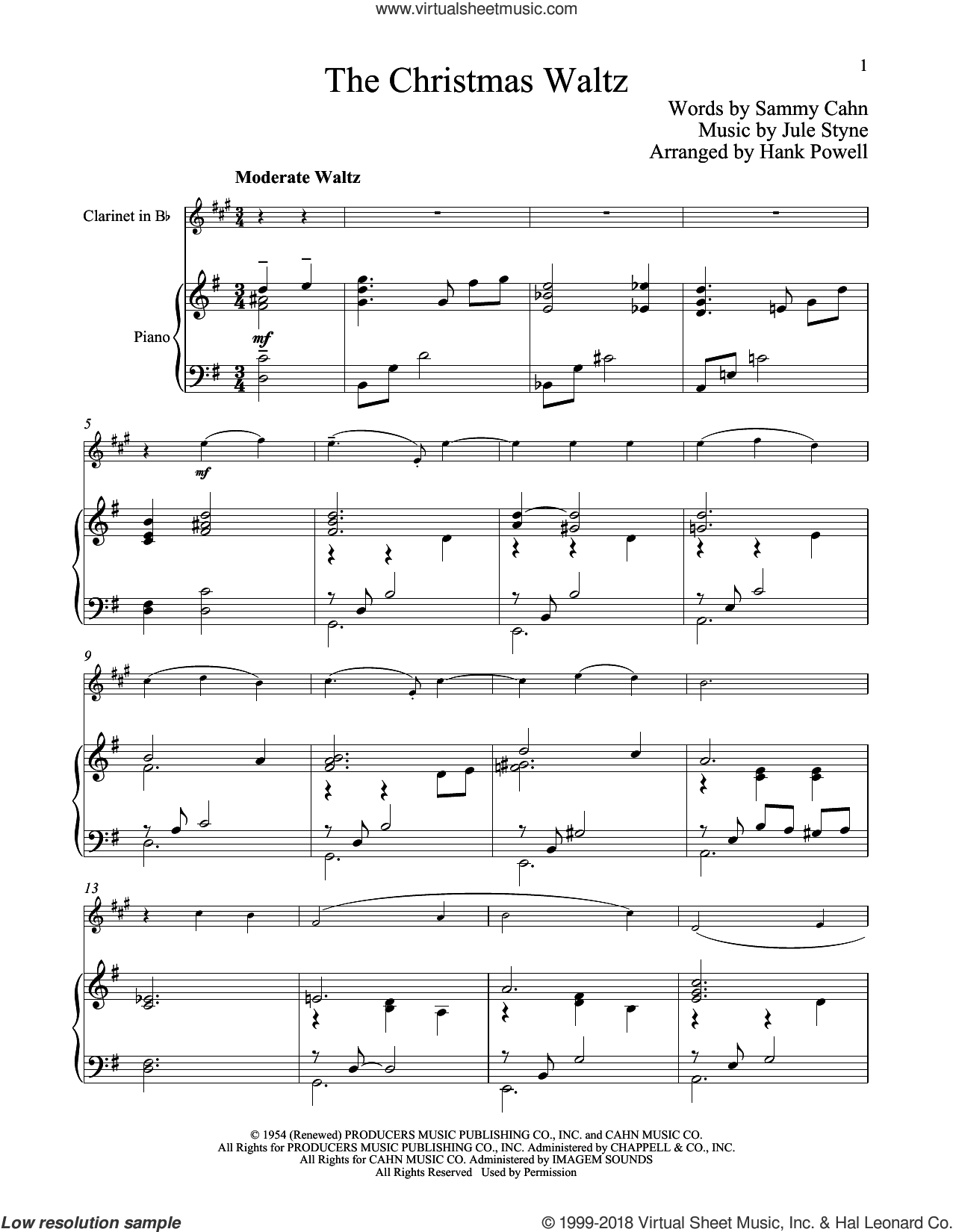 The Christmas Waltz sheet music for clarinet and piano by Sammy Cahn and Jule Styne, classical score, intermediate skill level