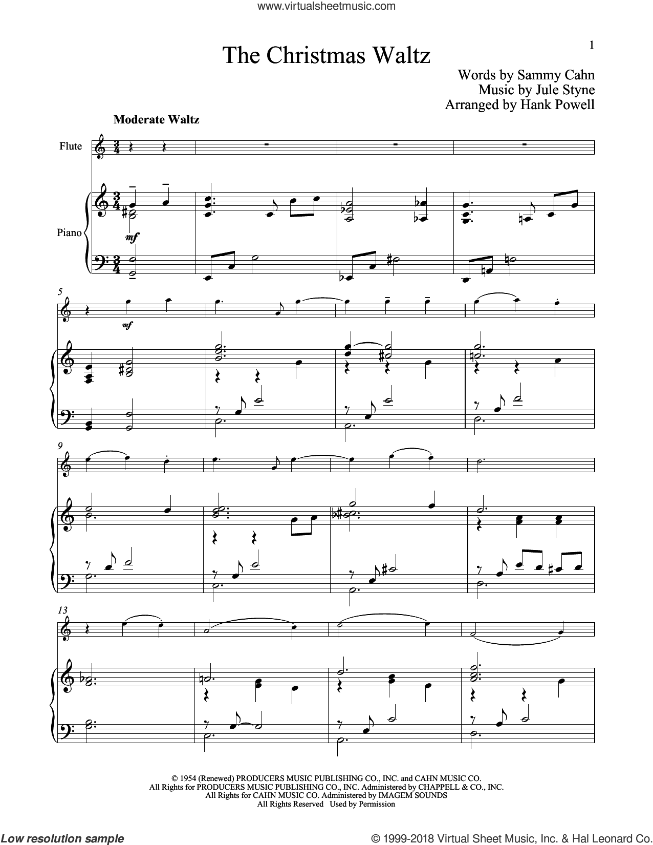 The Christmas Waltz sheet music for flute and piano by Sammy Cahn and Jule Styne, classical score, intermediate skill level