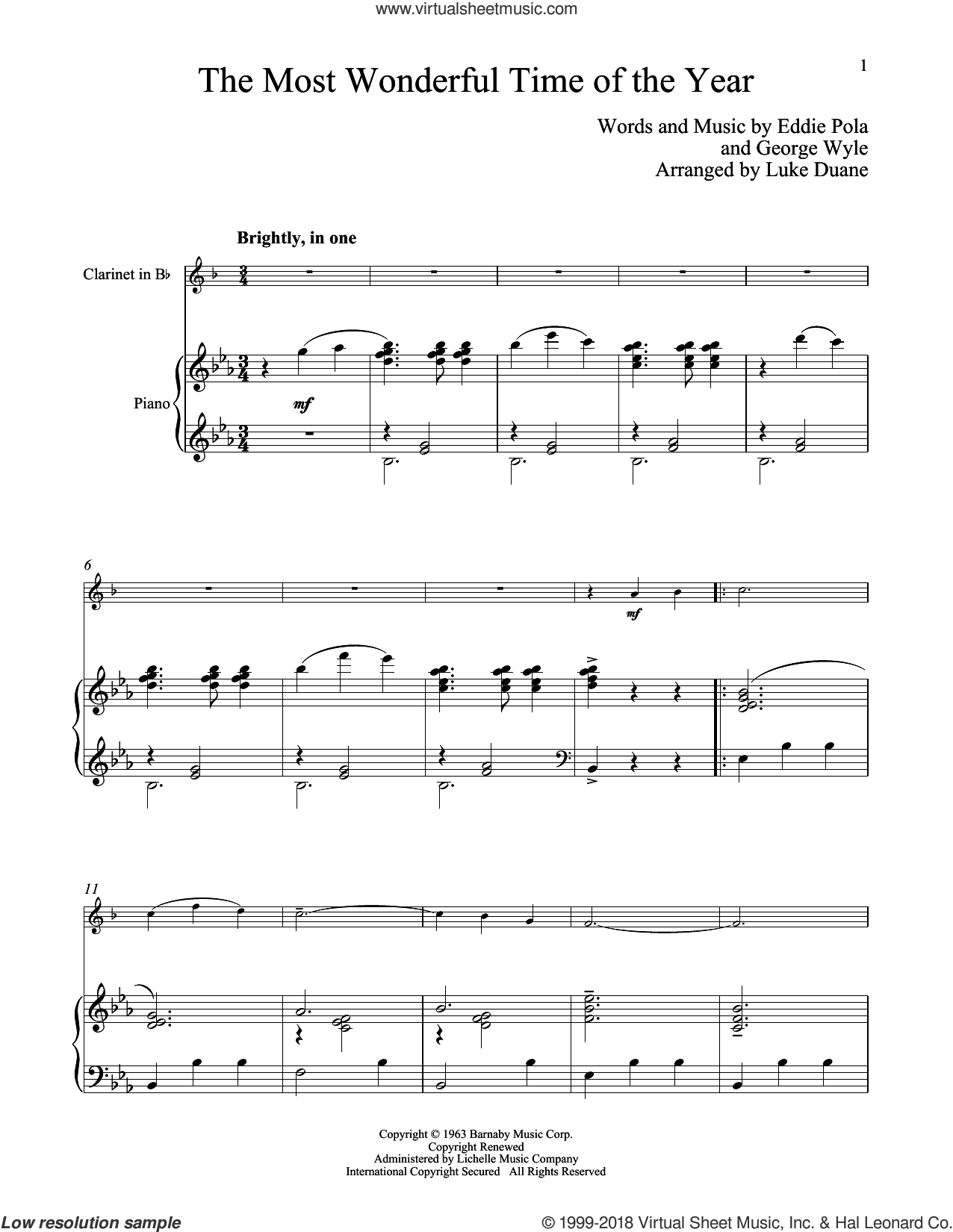 The Most Wonderful Time Of The Year sheet music for clarinet and piano by George Wyle and Eddie Pola, classical score, intermediate skill level