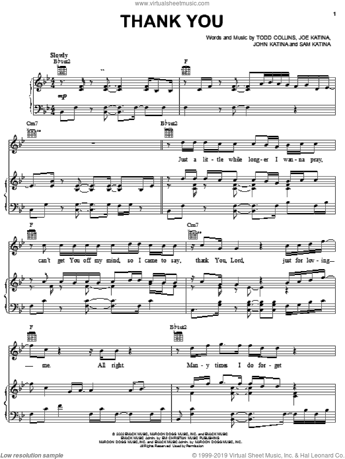 Thank You sheet music for voice, piano or guitar by Sam Katina, The Katinas and Joe Katina. Score Image Preview.