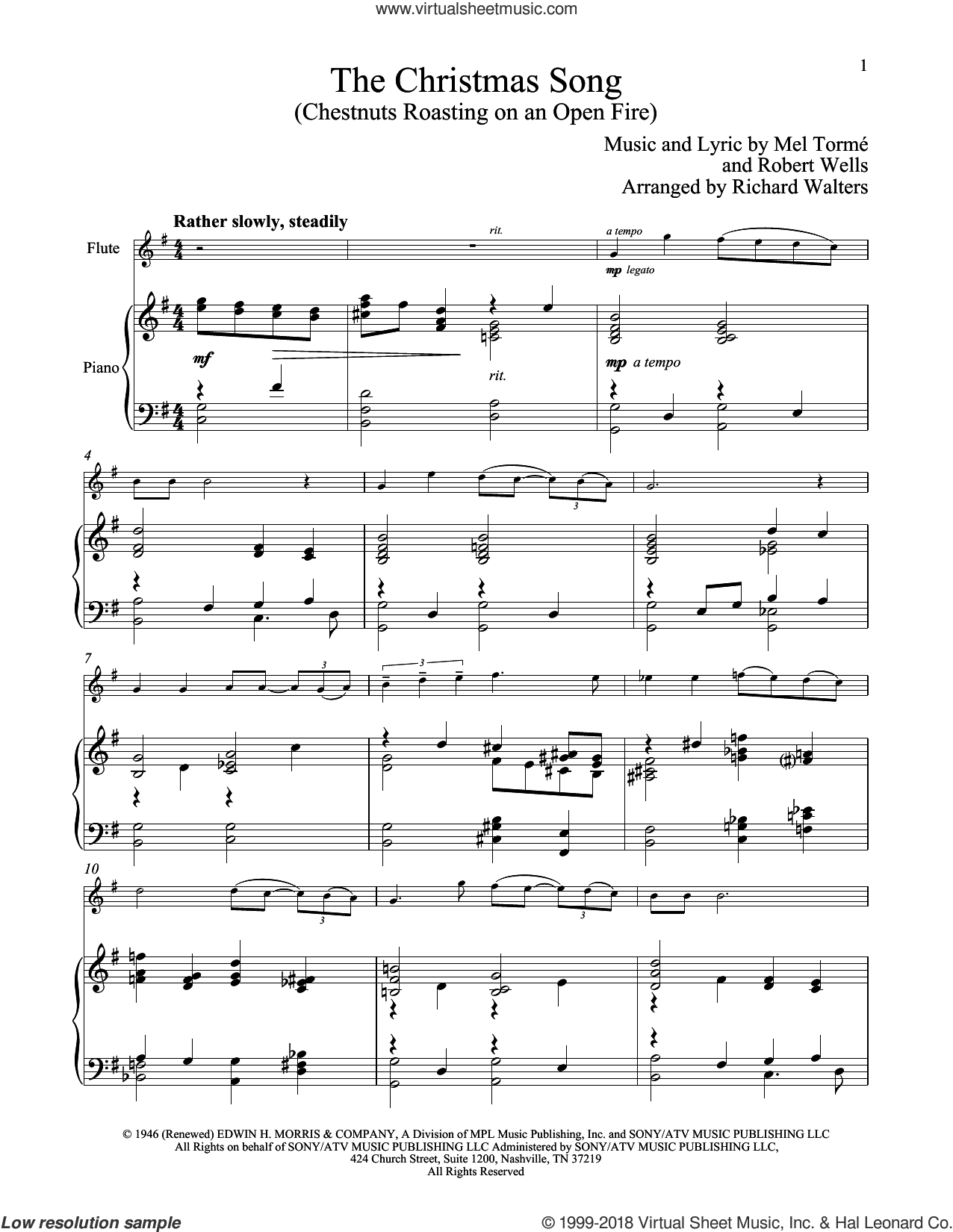 The Christmas Song (Chestnuts Roasting On An Open Fire) sheet music for flute and piano by Mel Torme and Robert Wells, intermediate skill level