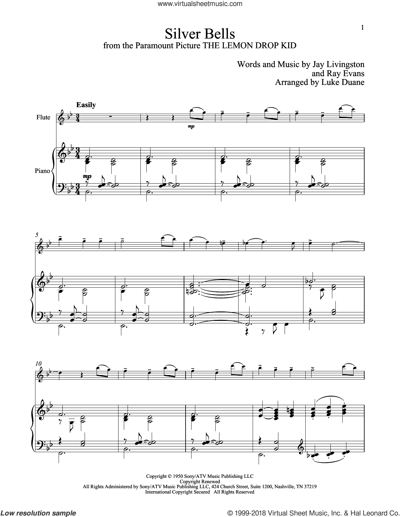 Silver Bells sheet music for flute and piano by Jay Livingston and Ray Evans, classical score, intermediate skill level