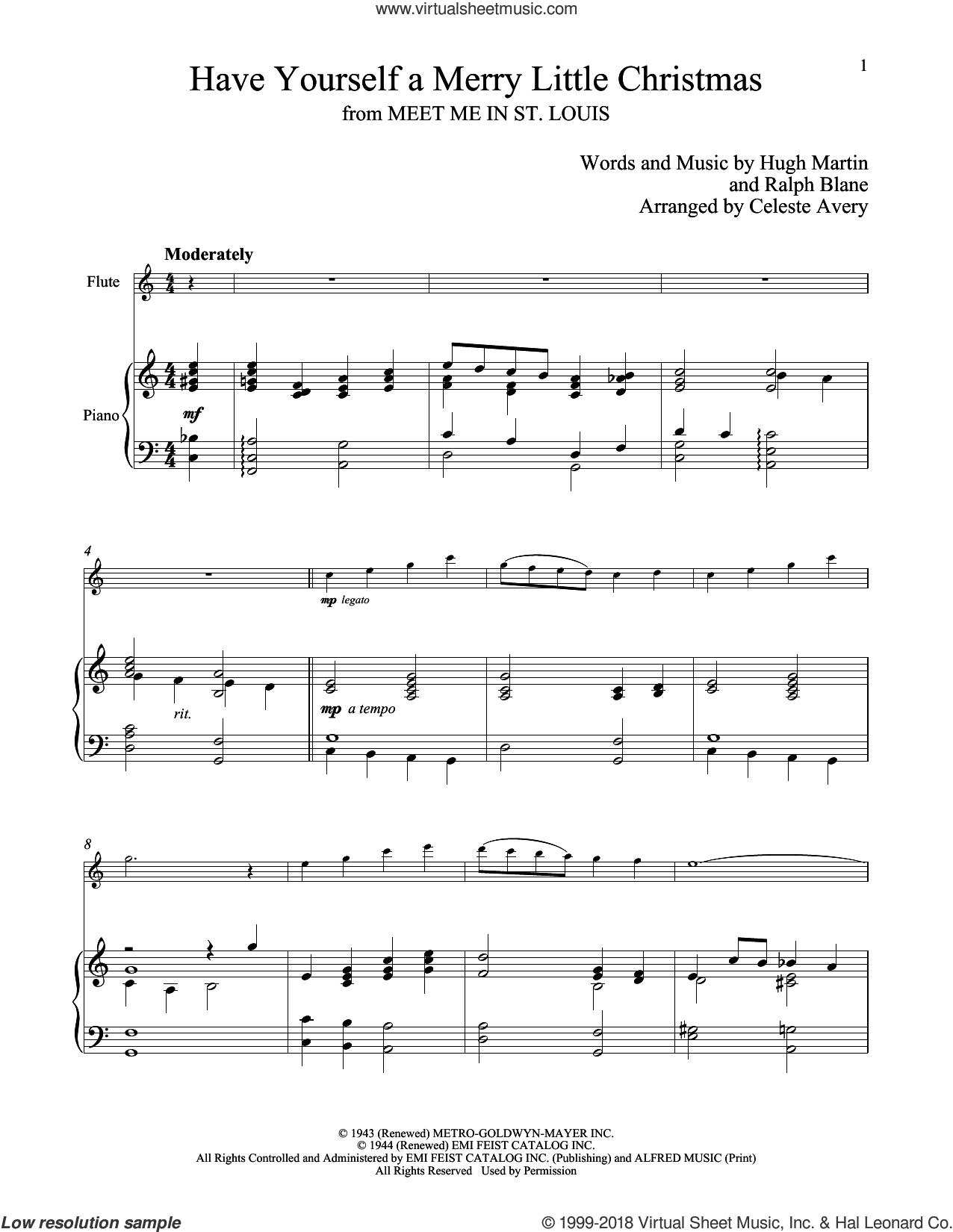 Have Yourself A Merry Little Christmas sheet music for flute and piano by Hugh Martin and Ralph Blane, classical score, intermediate skill level