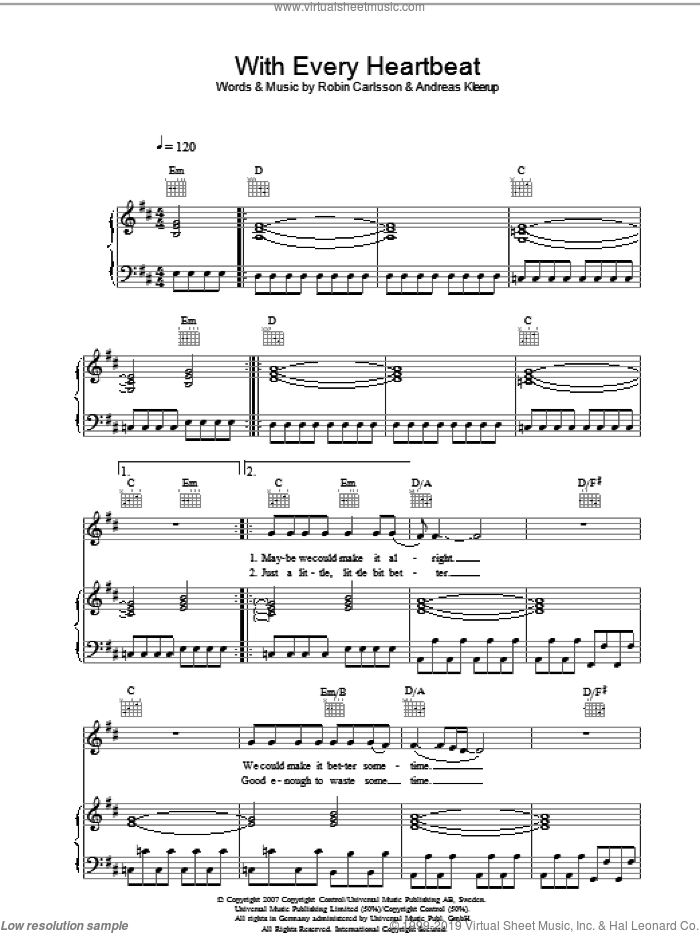 With Every Heartbeat sheet music for voice, piano or guitar by Andreas Kleerup and Robin Carlsson. Score Image Preview.