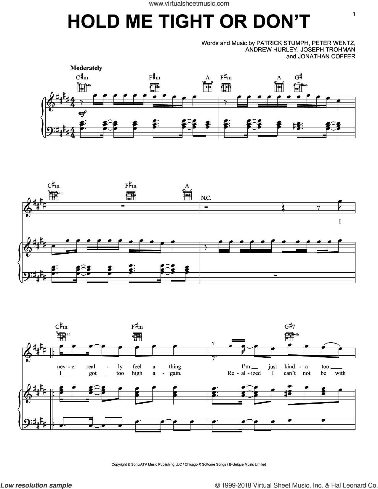 Hold Me Tight Or Don't sheet music for voice, piano or guitar by Fall Out Boy, Andrew Hurley, Jonathan Coffer, Joseph Trohman, Patrick Stumph and Peter Wentz, intermediate skill level