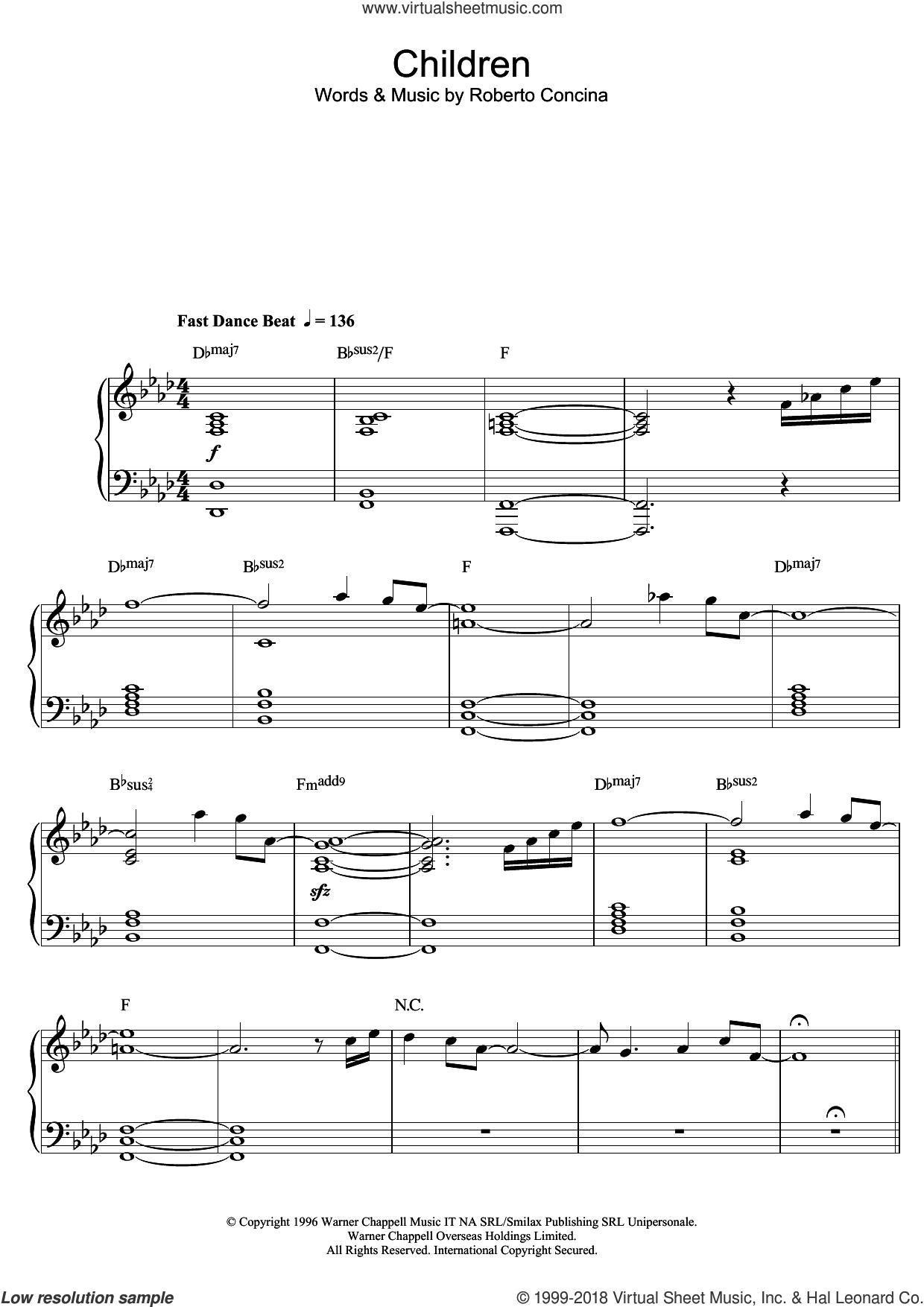 Children (Interlude) sheet music for piano solo by Tokio Myers and Roberto Concina, classical score, intermediate skill level