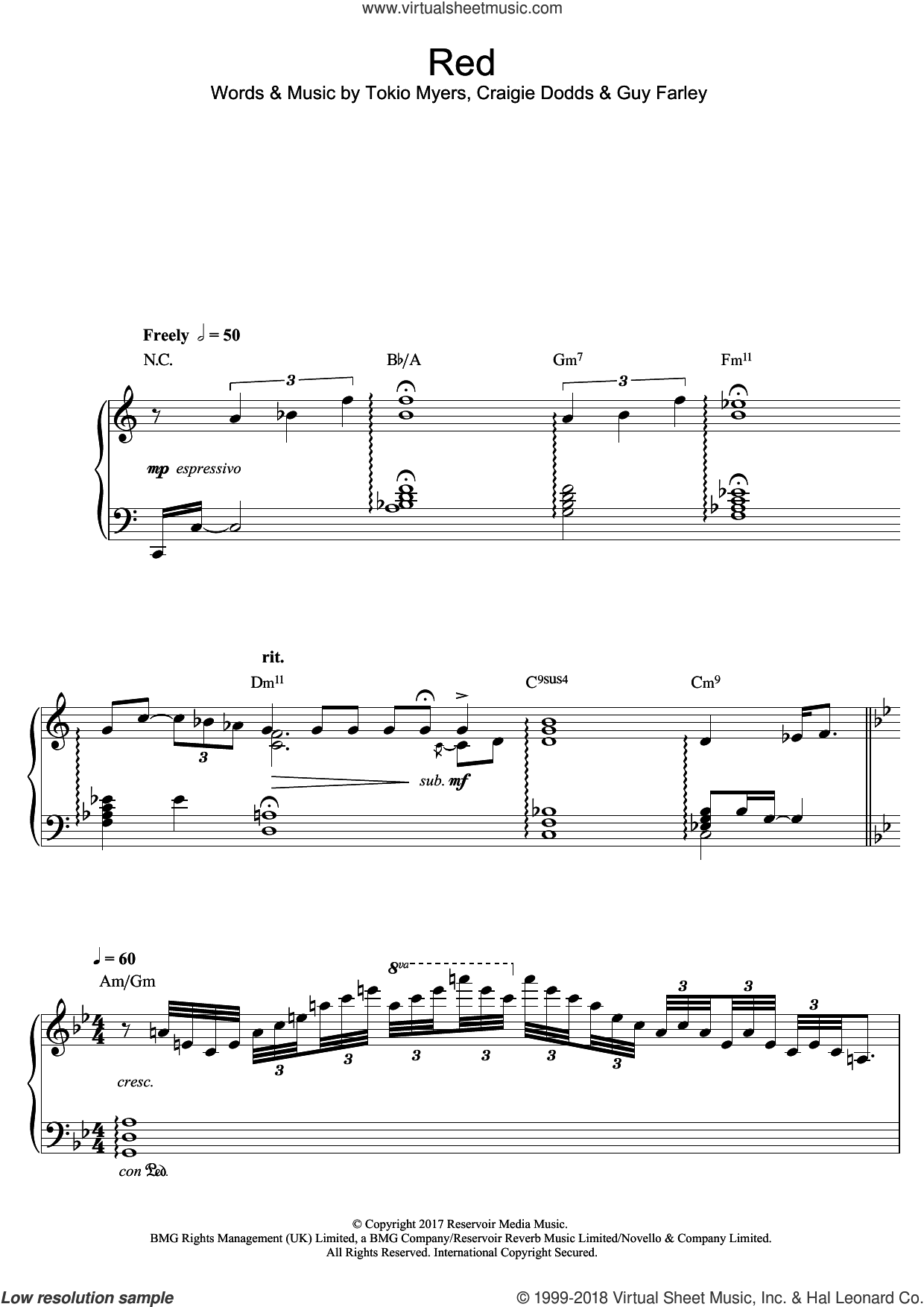 Red sheet music for piano solo by Tokio Myers, Craigie Dodds and Guy Farley, classical score, intermediate skill level