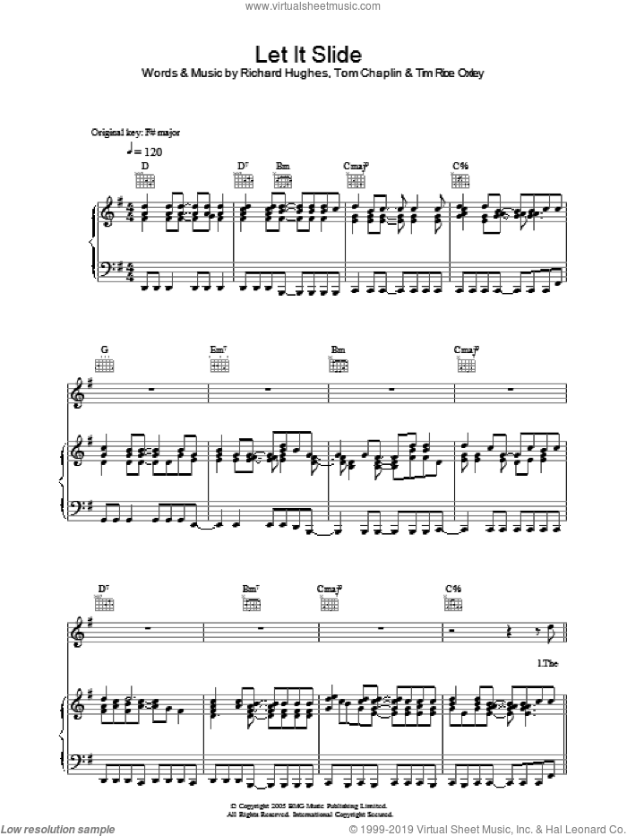 Let It Slide sheet music for voice, piano or guitar by Richard Hughes, Tim Rice-Oxley, Tim Rice Oxley and Tom Chaplin. Score Image Preview.
