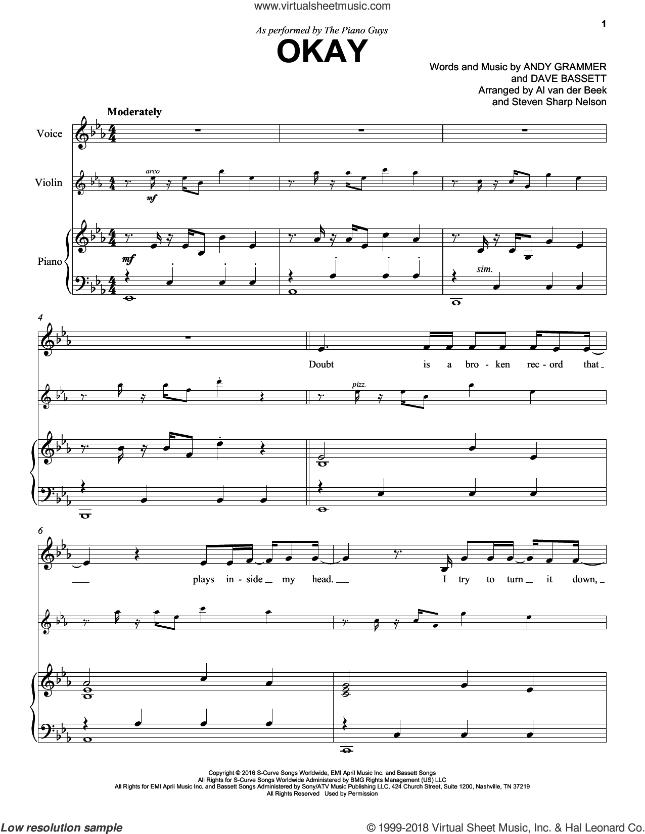 Okay sheet music for violin and piano by The Piano Guys, Andy Grammer and Dave Bassett, intermediate skill level