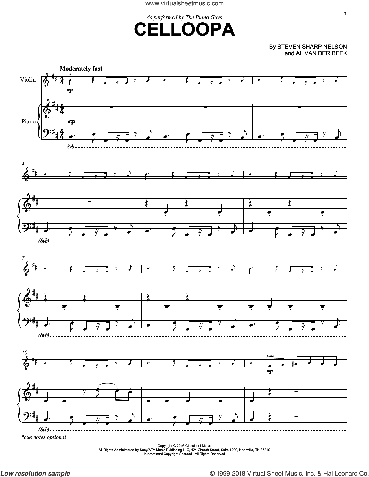 Celloopa sheet music for violin and piano by The Piano Guys, Al van der Beek and Steven Sharp Nelson, intermediate skill level