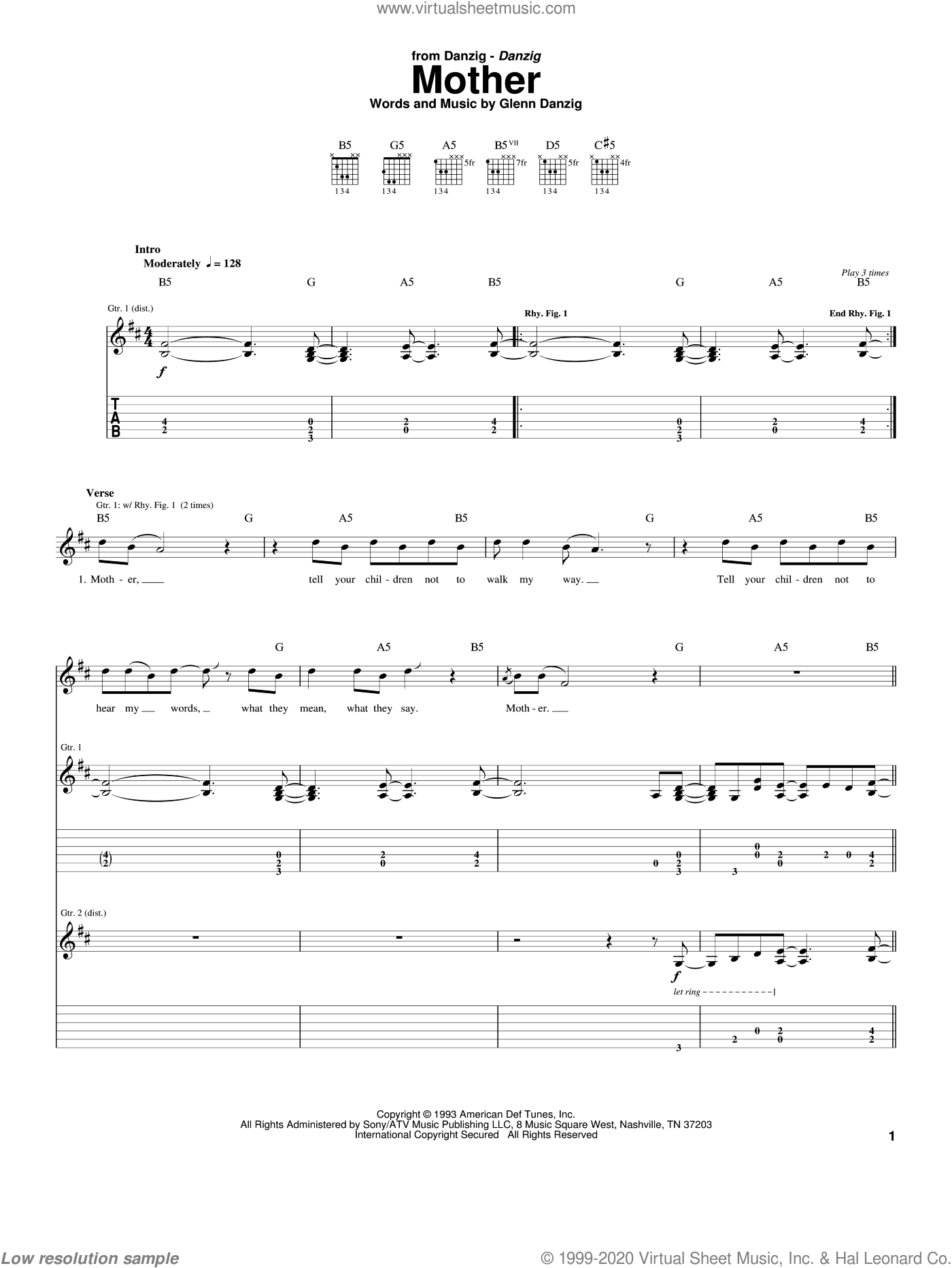 Mother sheet music for guitar (tablature) by Danzig, intermediate. Score Image Preview.