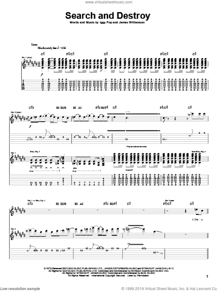 Search And Destroy sheet music for guitar (tablature) by The Stooges, Red Hot Chili Peppers, Iggy Pop and James Williamson, intermediate skill level