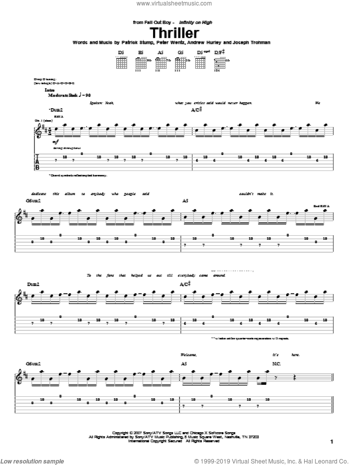 Thriller sheet music for guitar (tablature) by Fall Out Boy, Andrew Hurley, Joseph Trohman, Patrick Stump and Peter Wentz, intermediate skill level