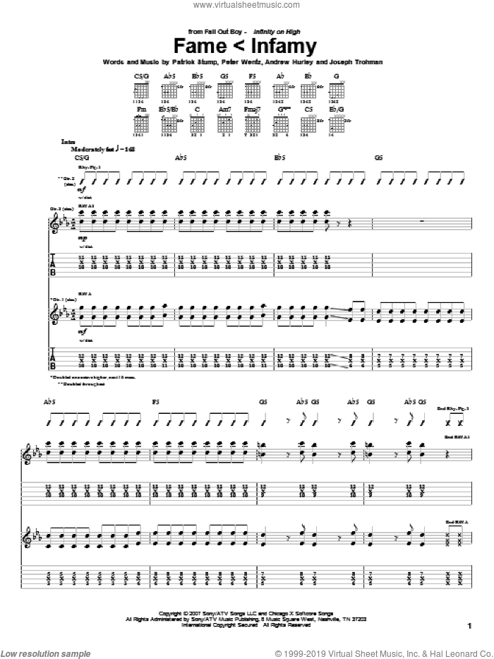 Fame < Infamy sheet music for guitar (tablature) by Peter Wentz, Fall Out Boy and Andrew Hurley