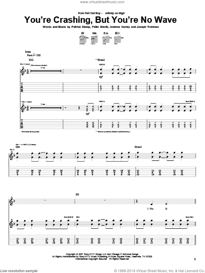 You're Crashing, But You're No Wave sheet music for guitar (tablature) by Peter Wentz