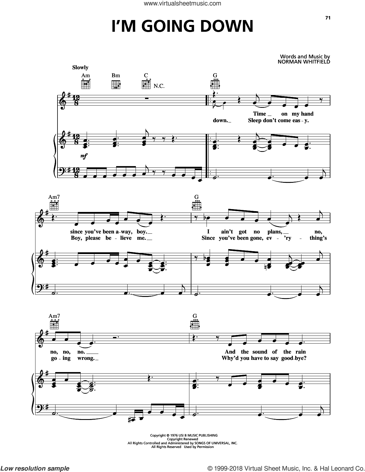 I'm Going Down sheet music for voice, piano or guitar by Mary J. Blige and Norman Whitfield, intermediate skill level