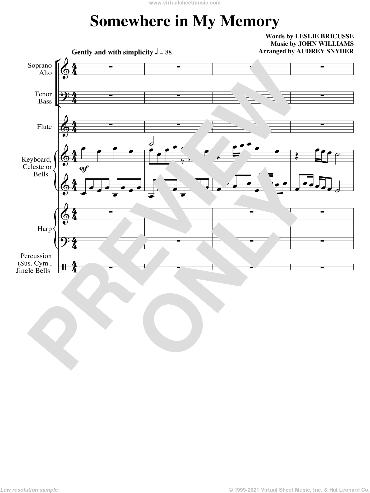 Somewhere in My Memory sheet music for orchestra/band (full score) by John Williams, Leslie Bricusse and Audrey Snyder, Christmas carol score, intermediate orchestra. Score Image Preview.