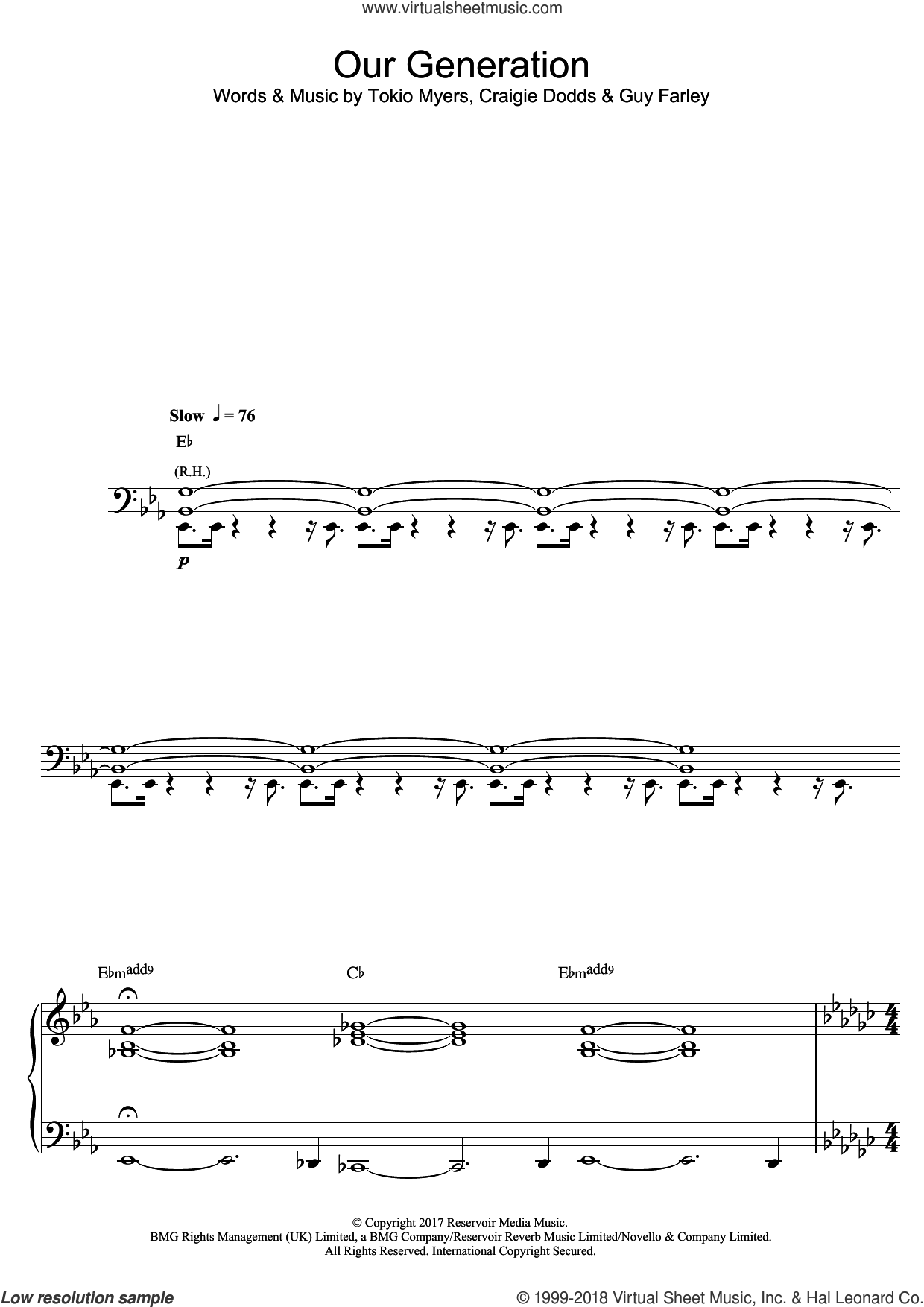 Our Generation sheet music for piano solo by Tokio Myers, Craigie Dodds and Guy Farley, classical score, intermediate skill level