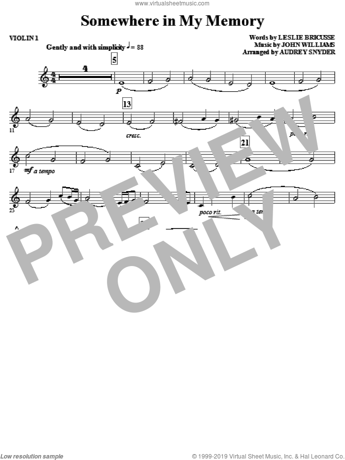 Somewhere in My Memory (arr. Audrey Snyder) sheet music for orchestra/band (violin 1) by John Williams, Leslie Bricusse and Audrey Snyder, intermediate skill level